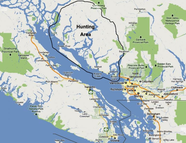 Coastal Inlet Adventures hunting territory map, southwestern BC